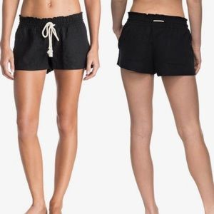 Roxy | Oceanside Black Linen Beach Surf Shorts